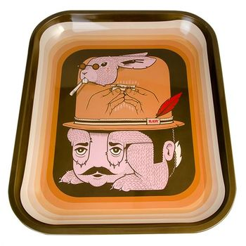 RAW Rolling Tray Drehunterlage aus Metall Raw Fish 34 x...
