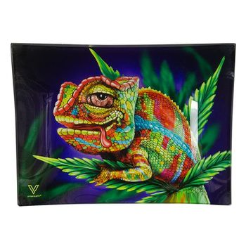 V Syndicate Rolling Tray Cloud 9 - Stoned Chameleon 16 x 21cm aus Glas Klein